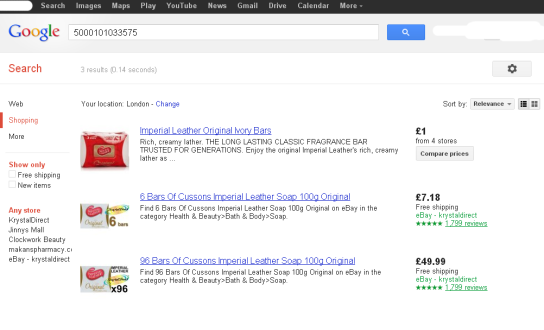 google product search example