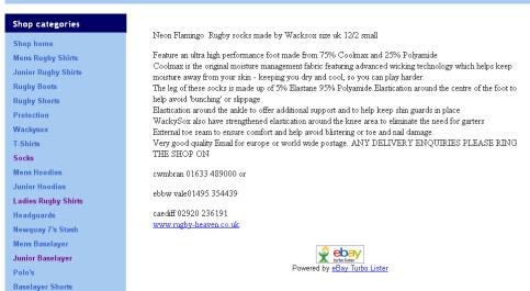 Rugy Heaven Cwmbran eBay Listing