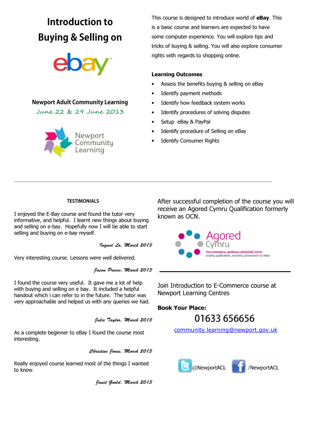 Introduction To Buying Selling On Ebay 22 29 June 2013 Newport Adult Community Learning Ebay Expert Uk Amazon Expert Uk Amazon Fba Expert Amazon Fba One To