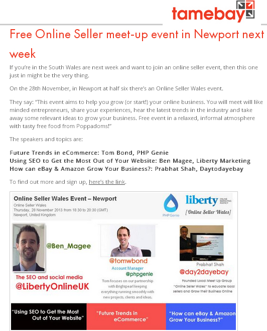 Free Online Seller meet-up event in Newport next week